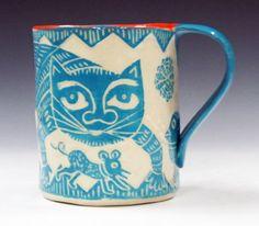 TURQUOISE and ORANGE Cat & Mouse Mug Sgraffito Carved Design on Porcelain Folk Art on Etsy, $40.00