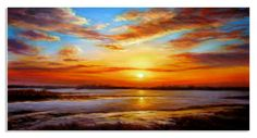 "48""x24"" hand painted art Oil Painting Canvas sunset sky cloud"