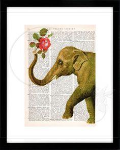 Elephant Print Dictionary/Encyclopedia art print elephant wall art circus animal artwork nursery art zoo animal print pachyderm art no. 63 by quiveringbeeprints on Etsy https://www.etsy.com/listing/458855902/elephant-print-dictionaryencyclopedia