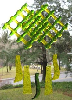 Green and yellow woven glass wind chime