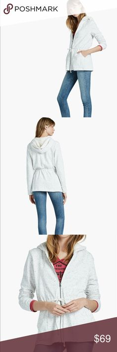 """Lucky Brand Sherpa Lined Hoodie Lucky Brand terry, Sherpa-lined hoodie. White with grey speckles. Terry knit hoodie with Sherpa lined hood. Drawstring waist, front pockets, body length 28"""" Lucky Lotus Lucky Brand Jackets & Coats"""