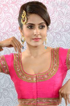 Rani #pink multicoloured raw #silk mesmeric #blouse with u #neck -BL828