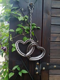 Old horseshoes made into hearts.