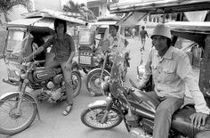 Tricycles in Olongapo City, Philippines. 1970 They were still popular when I visited multiple times in Except they were in color then LOL. Olongapo, Subic Bay, Jeepney, Mindanao, Navy Life, Quezon City, Baguio, Enjoying The Sun, During The Summer
