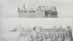 Schinkel's Utopian late project: project for Palace on the Acropolis, Athens, 1834.
