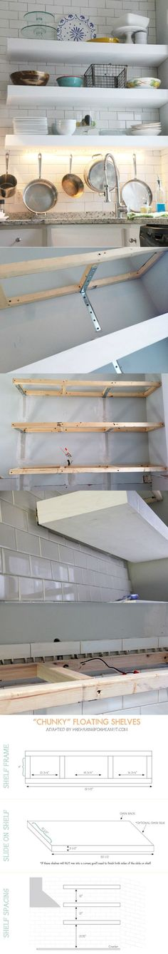 The best tutorial on how to build real floating shelves that are strong enough to hold dishes and books up without sagging and no visible braces! Thanks @Becky Voboril (scheduled via http://www.tailwindapp.com?utm_source=pinterest&utm_medium=twpin&utm_content=post15528792&utm_campaign=scheduler_attribution)