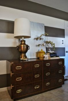 Campaign dresser and striped wall