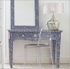 Dressing table with sapphire-blue bone inlay by Graham and Green