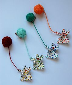 Cat playing with yarn art shrink brooch by LindoRon on Etsy, $14.00