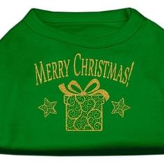 Golden Christmas Present Dog Shirt Emerald Green XXXL (20)