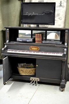 """Hmmm  """"Music to my ears""""?  I have an old beautiful piano that's beautiful...but past repair.  Convert to a bar?  What could I do in place of keyboard??"""