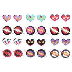 9 Pairs Heart and Lightning Bolt Earrings by WhyrdozBoutique, $7.00
