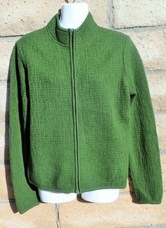 Womens Green TALBOTS 100% Wool Zip Up Knit Sweater S Small Checkers Cardigan #Talbots #FullZip