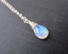 Moonstone Necklace Rainbow Moonstone Necklace by SongYeeDesigns, $36.00