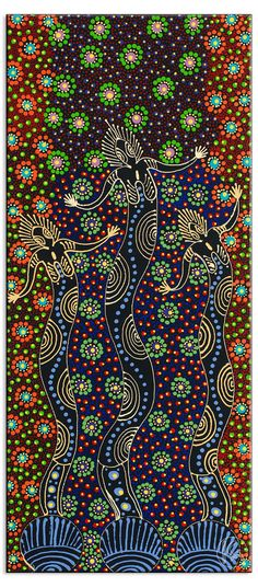 Dreamtime Sisters by Colleen Wallace Nungari. The painting depicts the ancestral spirit figures Irrernte-arenye (Dreamtime sisters) of the Eastern Arrernte Aboriginal people in Central Australia. -- click image for more information