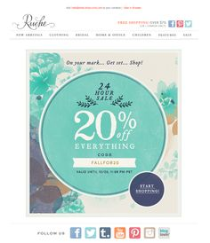 #newsletter Ruche 10.2013 subject:  20% off Everything | nice bold CTA at bottom