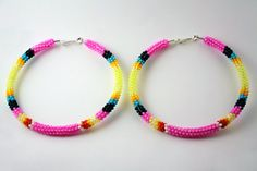 Hot Pink Native American Beaded Hoop Earrings by eleumne on Etsy, $45.00
