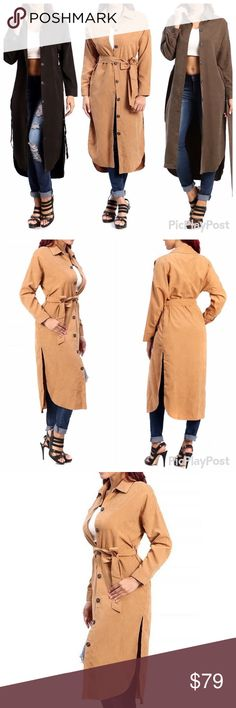 🆕🎀 Trench Coat ✅20% off bundles/Reasonable will be considered via the offer option only. ❌No trades. Description: Long sleeve thin suede trench coat, button accents along the front. String along the waist to secure.  Content: 100% Polyester Chic Fashion Jackets & Coats Trench Coats