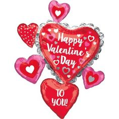 Make a big impact on your Valentine's Day party decorations with a Giant Stacked Valentine's Day Hearts Balloon! This foil balloon features a large central heart and five hearts attached all around it. Valentines Day History, Valentines Day Gifts For Friends, Happy Valentine Day Quotes, Valentines Day Gifts For Her, Valentines Day Shirts, Valentines Day Decorations, Valentine Day Cards, Valentines Flowers, I Love You Balloons