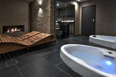 Sauna whirlpool combination made by VSB Wellness Home Spa Room, Spa Rooms, House Rooms, Saunas, Sauna Steam Room, Sauna Room, Indoor Jacuzzi, Burlington House, Sauna Design