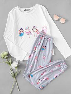 SHEIN Women Sleepwear White Owl Print Long Sleeve Tee and Grey Pants Pajama Set Woman Pajamas Autumn Sleepwear Cute Pajama Sets, Cute Pajamas, Pajamas Women, Cute Comfy Outfits, Stylish Outfits, Fashion Outfits, Womens Fashion Online, Latest Fashion For Women, Cute Sleepwear