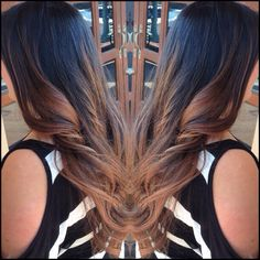 Butterscotch caramel balayage highlights color melt on natural dark brown / black brunette hair