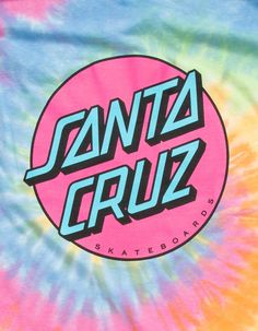 Santa Cruz Logo, Skateboard Logo, Dot Logo, Spiral Tie Dye, Hand Logo, Cotton Tee, Larger, Cuffs, Designers