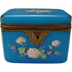Antique French Blue Opaline Gilt and Enamel Glass Jewelry Casket or Sugar Box -- found at www.rubylane.com #vintagebeginshere