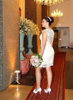 Etui-Linie U-Ausschnitt Knielang Spitze Cap Straps Ärmellos Saal Hochzeitsfeier Nein Frühling Sommer Elfenbein Weiß Brautkleid