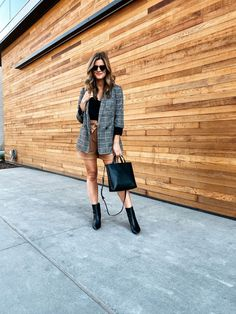 Fall Trends I'm Excited About Plaid Blazer Leather Shorts Booties #booties #fallstye #falltrends