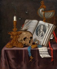 Coisas de Terê→ Vanitas Still-Life (1698). Edwart Collier (Dutch - 1640/1710). Oil on canvas.