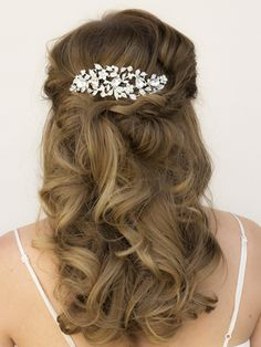 "Rhinestone Floral Bridal Hair Comb ~ ""Katelyn"" - Bridal Hair Accessories by Hair Comes the Bride"