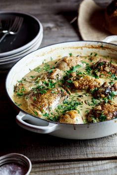 Coq au Riesling recipe: chicken, bacon, mushroom & most importantly, white wine!