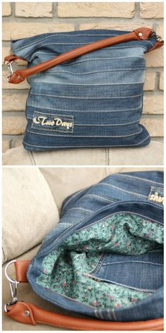 Jeans upcycling: sew the bag yourself - sewing pattern and sewing .- Jeans-Upcycling: Tasche selber nähen – Schnittmuster und Nähanleitung via Make… Jeans upcycling: sew the bag yourself – pattern and sewing instructions via Makerist. Jean Crafts, Denim Crafts, Artisanats Denim, Jean Purses, Diy Accessoires, Diy Bags Purses, Diy Clothes Videos, Denim Ideas, Old Jeans