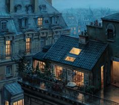 Rooftops of Paris at Twilight (and other Fairytales). Russian painter Evgeny Lushpin