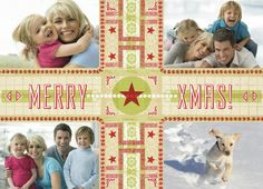 "Merry Christmas Cross - Hammerpress - Photo Christmas Card. Spread Christmas cheer with this photo Christmas card. Add four photos of your family and share with family and friends this season. 7"" x 5"" Folded Card. Price: $2.99"