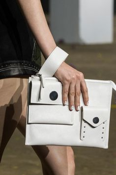 White pocket clutch bag, utility chic fashion details // 3.1 Phillip Lim Spring 2017 More