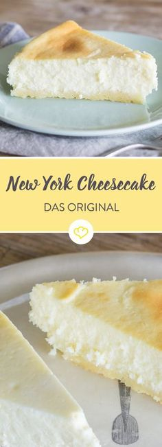 The only real cheesecake - New York or American?- Der einzig wahre Cheesecake – New York oder American? Only the combination of cream cheese and cream, baking in a water bath and hours of cooling give the New York cheesecake its creaminess. Food Cakes, New York Kuchen, Cheesecake Americano, Cheesecake Recipes, Dessert Recipes, Dessert Blog, Cheesecake Cookies, Cheesecake Bites, American Cheesecake