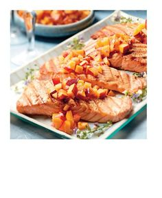 Wasabi Salmon with Savory Peach Salsa ~ The Costco Connection - Fabulous Food The Costco Way - Page 172-173