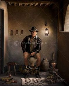 is a title character and protagonist of the Indiana Jones franchise. George Lucas created the character in homage to the action heroes of film serials. Celebrity Caricatures, Celebrity Portraits, Old Pictures, Funny Pictures, Toilet Art, George Lucas, Harrison Ford, Photo Dump, Indiana Jones