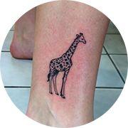 Small Giraffe Tattoo Design: On Ankle