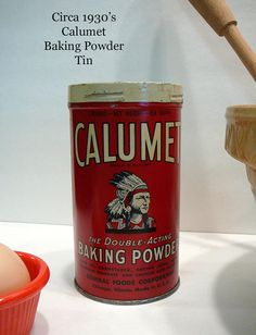 1930's Antique Calumet Tin Can General Foods by EvelynnsAlcove$38