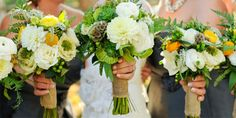 white, green and yellow wedding bouquets with dahlias, roses, succculents and caspedia wrapped with burlap fabric