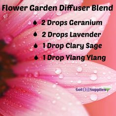 Flower garden diffuser blend with geranium, lavender, clary sage and ylang ylang essential oils. www.gotoilsupplies.com