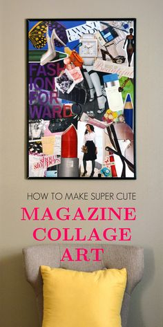 Make personalized and colorful wall art from old magazines; from Spark & Chemistry