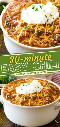 In need of comfort food and something fast? 30 minutes are all you need to put this Easy Chili Recipe on your dinner table! Full of ground beef, chili beans, and seasonings, this rich and hearty bowl of soup will be your go-to meal to warm you up on those cold nights! Easy Holiday Recipes, Fall Recipes, Recipes Dinner, Yummy Recipes, Yummy Food, Tasty, Ground Beef Chili, Ground Beef Recipes, Thanksgiving Main Dishes