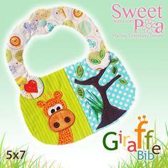 Giraffe baby bib ITH in the hoop 5x7 - Sweet Pea