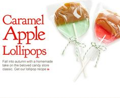 Caramel Apple Lollipops. Fall into autumn with a homemade take on the beloved candy store classic. Get our lollipop recipe