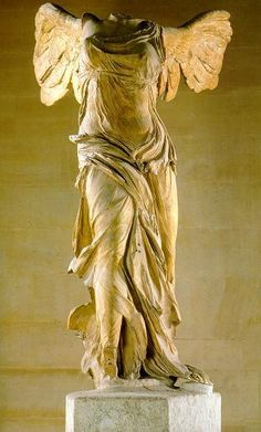 Winged Victory of Samothrace, early 2nd century ~ Musée du Louvre ~ Paris. This is one of the most amazing pieces of art.  You think you know it because you have seen it in photo and movie,( most effective in Funny Face), but when you stand at the foot of those stairs and really see...splendid and awe inspiring. JC