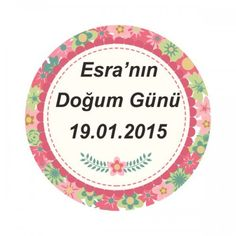 Çiçek Desenli Doğum Günü Etiketi 24 Adet BB0094